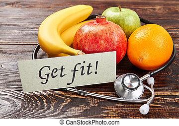 pomme, bananes, card., stéthoscope