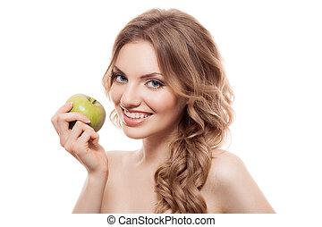 pomme, beauté, isolé, quoique, vert, tenue, sourire, blanc