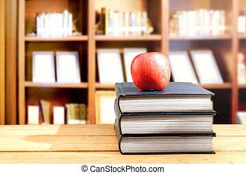 pomme, bois, bibliothèque, livres, tas, table