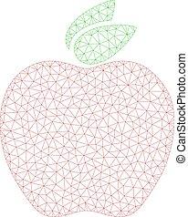 pomme, cadre, illustration, polygonal, vecteur, maille