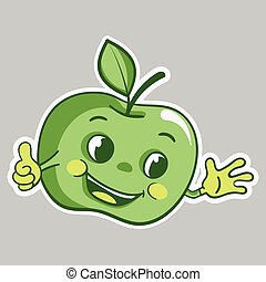 pomme, caractère, autocollant, haut, vert, pouces, dessin animé