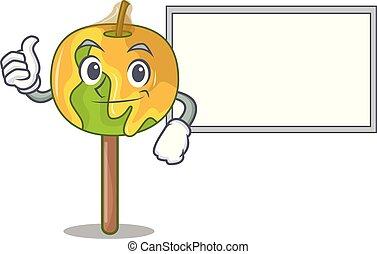 pomme, caractère, haut, bonbon, planche, dessin animé, pouces