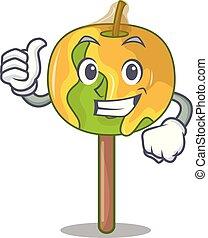 pomme, caractère, haut, bonbon, pouces, dessin animé