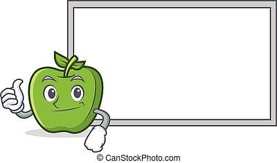 pomme, caractère, haut, vert, pouces, dessin animé, planche