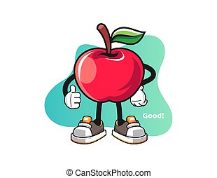 pomme, caractère, mascotte, pouces, vector., haut, cartoon.