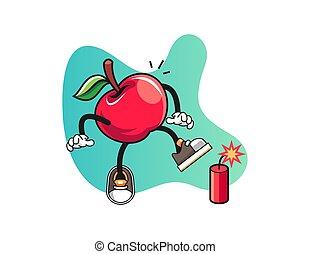 pomme, caractère, pétards, mascotte, vector., cartoon.