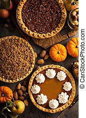 pomme, citrouille, émietter, traditionnel, pecan, automne,...