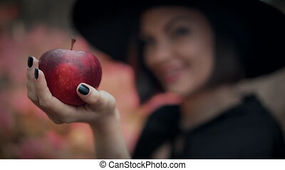 pomme, cosplay., poison., sorcière, concept, fée, mal,...