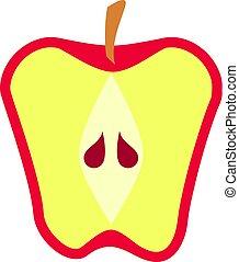 pomme, divisées deux, isolé, fruit, vecteur, rouges