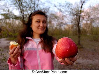 pomme, elle, grande main, girl, rouges