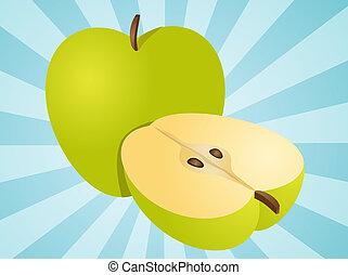 pomme entière, illustration, moitié