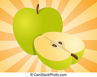 pomme, entier, et, moitié, illustration