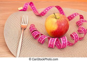pomme, et, fourchette, à, mètre ruban