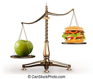 pomme, et, hamburger, sur, balances, conceptuel