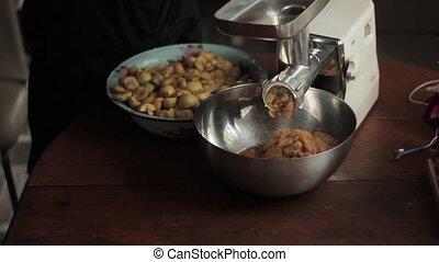 pomme, famille, presse, compote pommes, serrage, petit, production