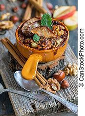 pomme, flocons avoine, above., honey., épices, vue