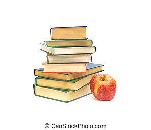 pomme, grand, livres, fond, blanc rouge