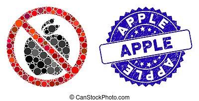 pomme, icône, timbre, mosaïque, non, gratté