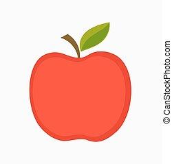 pomme, illustration, rouges