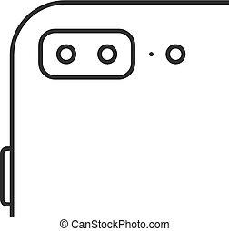 pomme, iphone, noir, ligne mince, icône