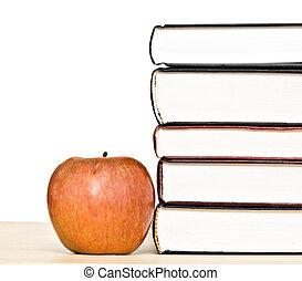 pomme, isolé, livres, fond, blanc rouge