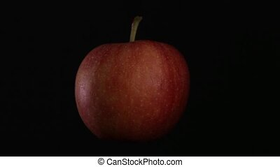 pomme, isolé, rotation, arrière-plan noir, rouges
