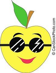 pomme, jaune, illustration, blanc, vecteur, arrière-plan.