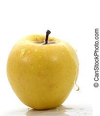 pomme, jaune, waterdrops
