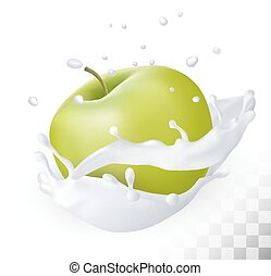 pomme, lait, arrière-plan., éclaboussure, vert, vector., transparent