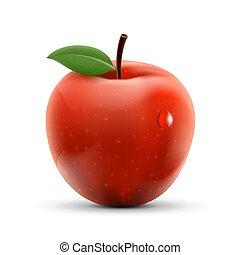 pomme, mûre, fruit., isolé, arrière-plan., blanc rouge