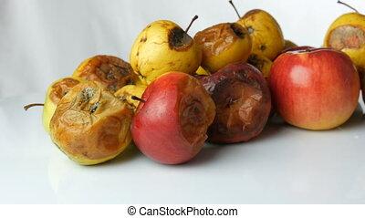 pomme, mûre, multicolore, tourner, arrière-plan., pourri, ...