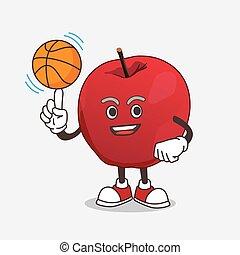 pomme, mascotte, caractère, dessin animé, basket-ball