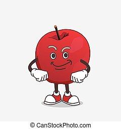 pomme, mascotte, caractère, dessin animé, figure, smirking