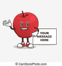 pomme, mascotte, caractère, whiteboard, dessin animé
