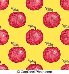 pomme, modèle, seamless, main, arrière-plan., vecteur, dessiné, gravé
