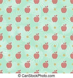 pomme, or, modèle, seamless, point, fond, scintillement, rouges