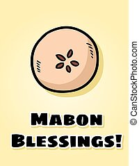 pomme, postcard., païen, automne, bénédictions, salutations...