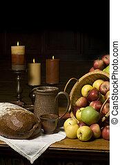 pomme, récolte, nature morte