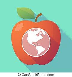 pomme, région, long, mondiale, ombre, amérique, globe, rouges