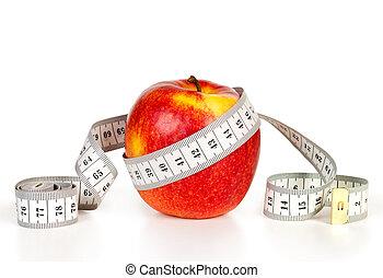 pomme rouge, à, bande, mesurer