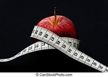 pomme rouge, à, mètre ruban