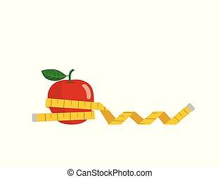 pomme rouge, blanc, mesure, arrière-plan., isolé, emballé, bande