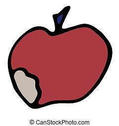 pomme rouge, style., isolé, illustration, mordu, griffonnage, vecteur