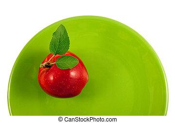 pomme rouge, sur, a, plaque