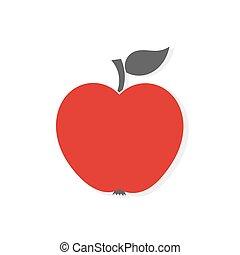 pomme, rouges, icône