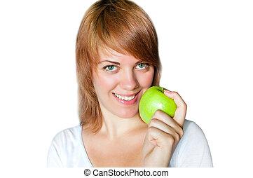pomme, sain, jeune, tenue, fille souriant
