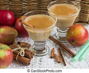 pomme, smoothie, à, cannelle