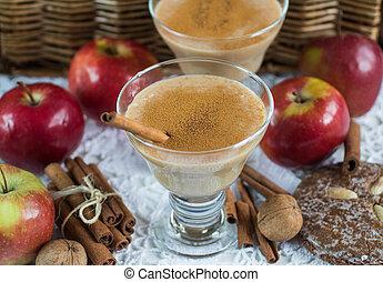 pomme, smoothie, à, cinnamon., régime, drink., sain, nutrition., foyer mou