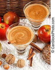 pomme, smoothie, à, fou, et, cinnamon., régime, drinks., sain, eating., foyer mou