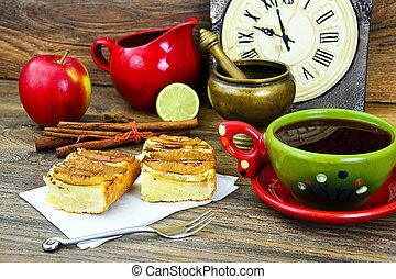 pomme, tasse, thé, tarte, boisé, backfround
